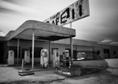 Desert Center, CA- Gas Station, Disappearing Car- Pinhole, Edition 1/3